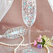 Свадебный салон ручной работы. Ярмарка Мастеров - ручная работа Свадебные бокалы Незабудки. Handmade.