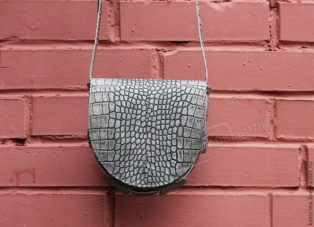 Crossbody bag gray leather Croco Geometry semicircle