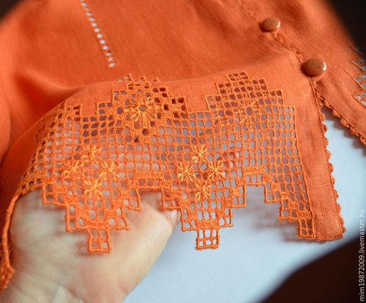 Льняной терракотовый жакет с вышивкой для лета, мережка, строчевая вышивка, ручная вышивка, жакет на пуговицах, летний наряд, льняная летняя одежда
