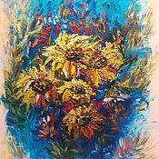 Картины и панно handmade. Livemaster - original item oil painting flowers yellow flowers sunlit sun. Handmade.