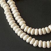 Бусины ручной работы. Ярмарка Мастеров - ручная работа Тибетские белые бусины-рондели из кости яка, 8 мм. Handmade.