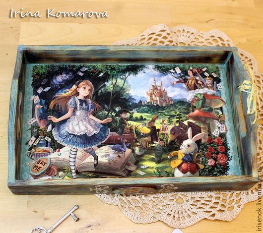 """Кухня ручной работы. Ярмарка Мастеров - ручная работа. Купить """"Приключения Алисы в Стране Чудес"""", поднос. Handmade. Разноцветный, бирюзовый"""