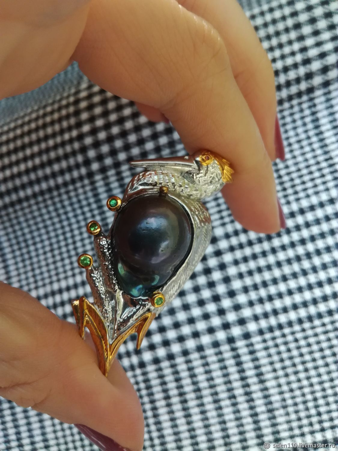 Brooch'Heron' with a black Baroque pearl, Brooches, Voronezh,  Фото №1