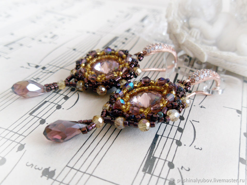 Purple beaded earrings with Swarovski crystals  , Earrings, Vyshny Volochyok,  Фото №1