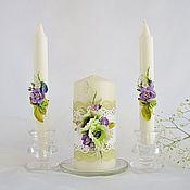 """Свадебный салон ручной работы. Ярмарка Мастеров - ручная работа Свадебные свечи """"Нежность зелени"""". Handmade."""