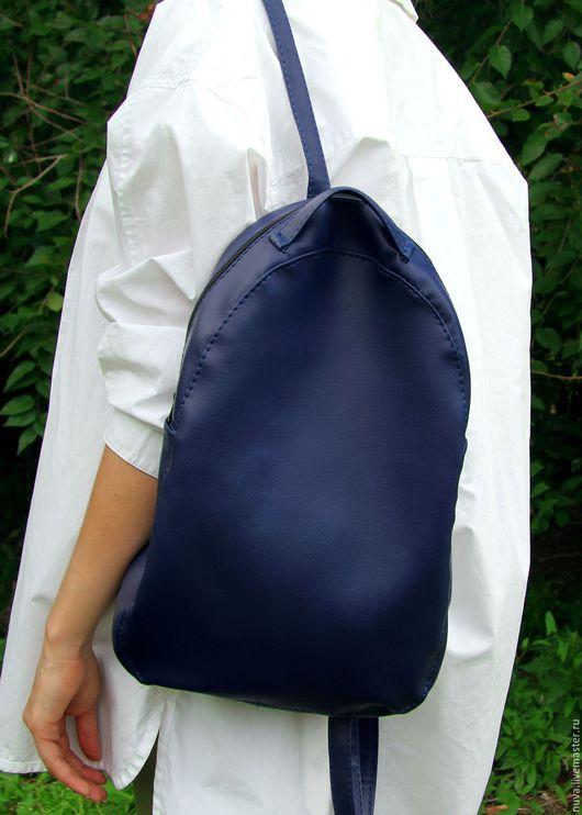 Рюкзаки ручной работы. Ярмарка Мастеров - ручная работа. Купить Синий матовый рюкзак. Handmade. Тёмно-синий, кожаный рюкзак
