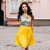 Одежда ручной работы. Ярмарка Мастеров - ручная работа Желтое платье миди. Handmade.
