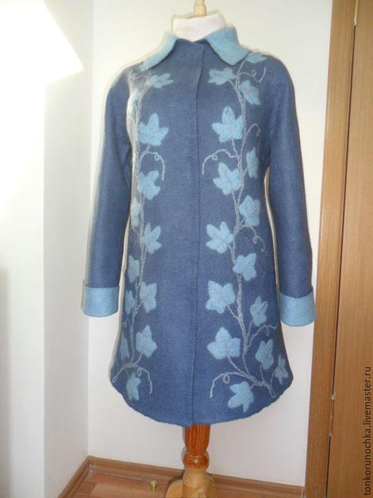 """Верхняя одежда ручной работы. Ярмарка Мастеров - ручная работа. Купить Валяное пальто """"Голубой плющ"""". Handmade. Синий"""