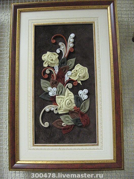 """Картины цветов ручной работы. Ярмарка Мастеров - ручная работа. Купить Панно из кожи """"Любимые цветы"""", картина из кожи. Handmade."""