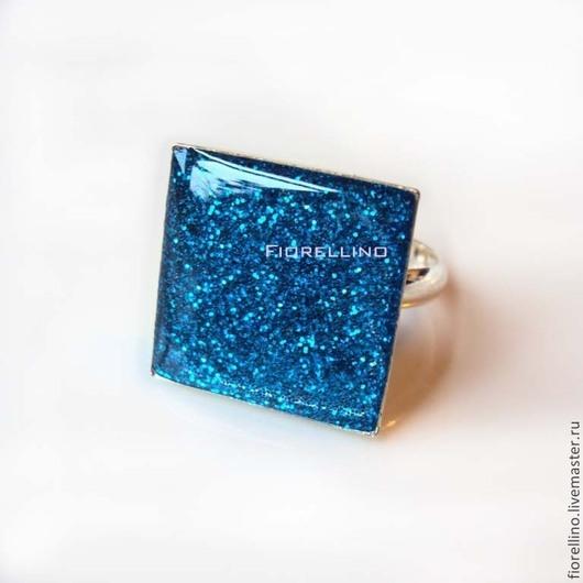 Кольца ручной работы. Ярмарка Мастеров - ручная работа. Купить Кольцо квадратное синий блеск. Handmade. Синий, безразмерное кольцо
