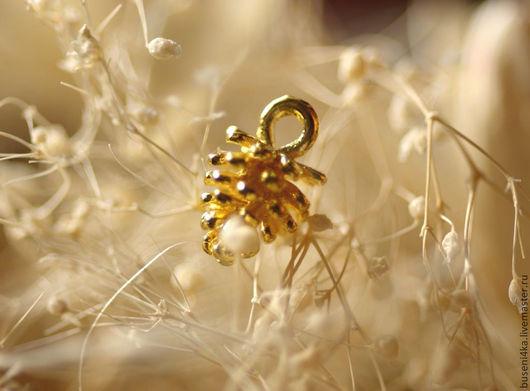 Для украшений ручной работы. Ярмарка Мастеров - ручная работа. Купить Подвеска Шишка 3D, 8х12мм, золотистая №2 (1шт). Handmade.