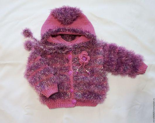 Одежда для девочек, ручной работы. Ярмарка Мастеров - ручная работа. Купить Вязаная пушистая курточка из травки  для девочки. Handmade. Комбинированный