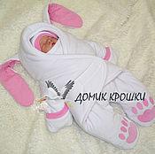 """Работы для детей, ручной работы. Ярмарка Мастеров - ручная работа Комбинезон-конверт для новорожденного """"Беленький Зайка"""" с розовым. Handmade."""