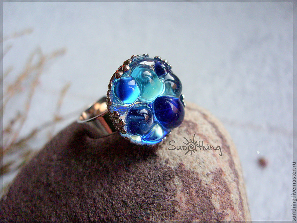 Ring 'Color Drops' (blue), Rings, St. Petersburg,  Фото №1
