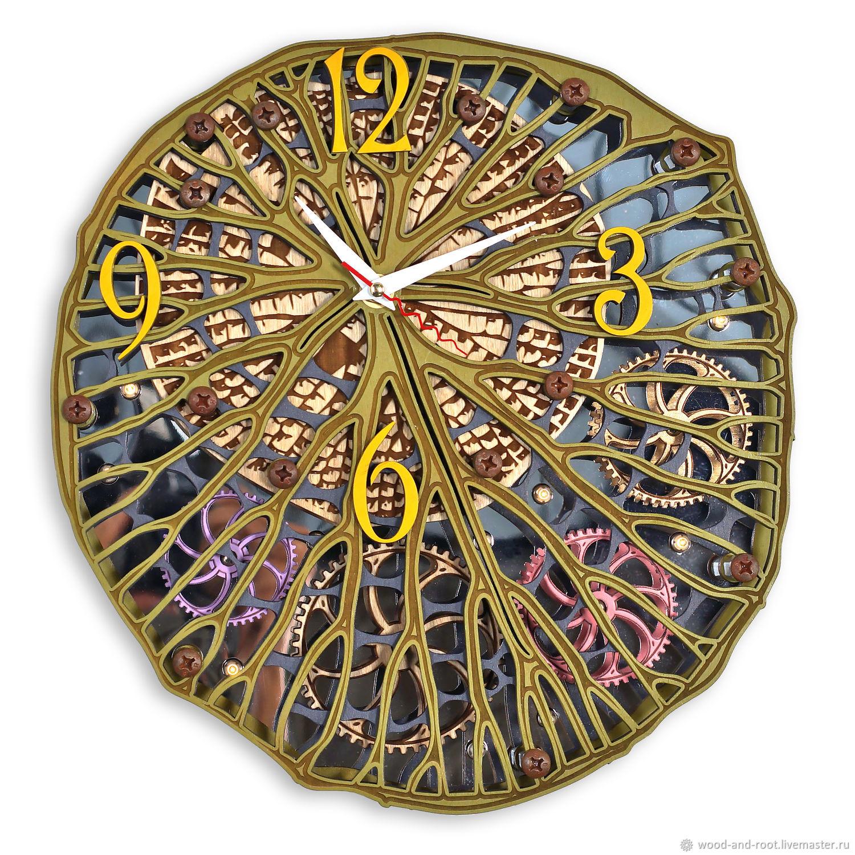 Часы для дома ручной работы. Ярмарка Мастеров - ручная работа. Купить Часы настенные Автоматон Заколдованный Лес с подсветкой. Handmade.