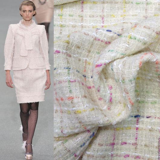 Шитье ручной работы. Ярмарка Мастеров - ручная работа. Купить Ткань Шанель костюмно-пальтовая молочная с цветными ниточками. Handmade.