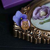 Украшения handmade. Livemaster - original item Painting on mother of pearl Cat. Handmade.