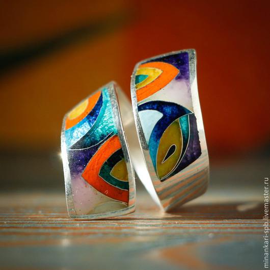 """Кольца ручной работы. Ярмарка Мастеров - ручная работа. Купить Кольцо """"Завиток"""" из серебра с эмалью. Минанкари. Handmade. Разноцветный"""