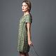 платье дизайнерское  из оригинальной твидовой  ткани с бахромой