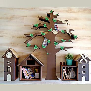 Для дома и интерьера ручной работы. Ярмарка Мастеров - ручная работа Дерево-стеллаж и домики-шкафчики для детской комнаты. Handmade.