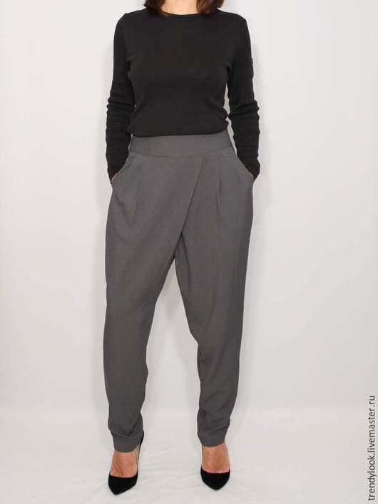 Брюки, шорты ручной работы. Ярмарка Мастеров - ручная работа. Купить Серые брюки с карманами в гаремном стиле,офисная мода. Handmade.