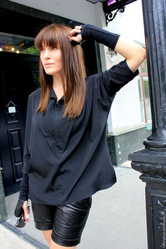 R00079 Стильная рубашка из натурального черного шелка. Красивая и уникальная вещь для любого мероприятия! Городской стиль.Гламурный стиль