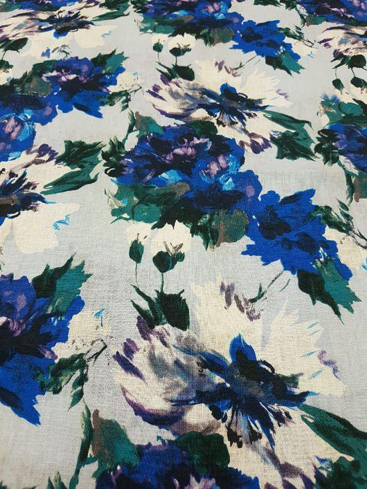 """Шитье ручной работы. Ярмарка Мастеров - ручная работа. Купить Лен с хлопком """"синие  цветы"""" ткани Италии. Handmade. Белый"""