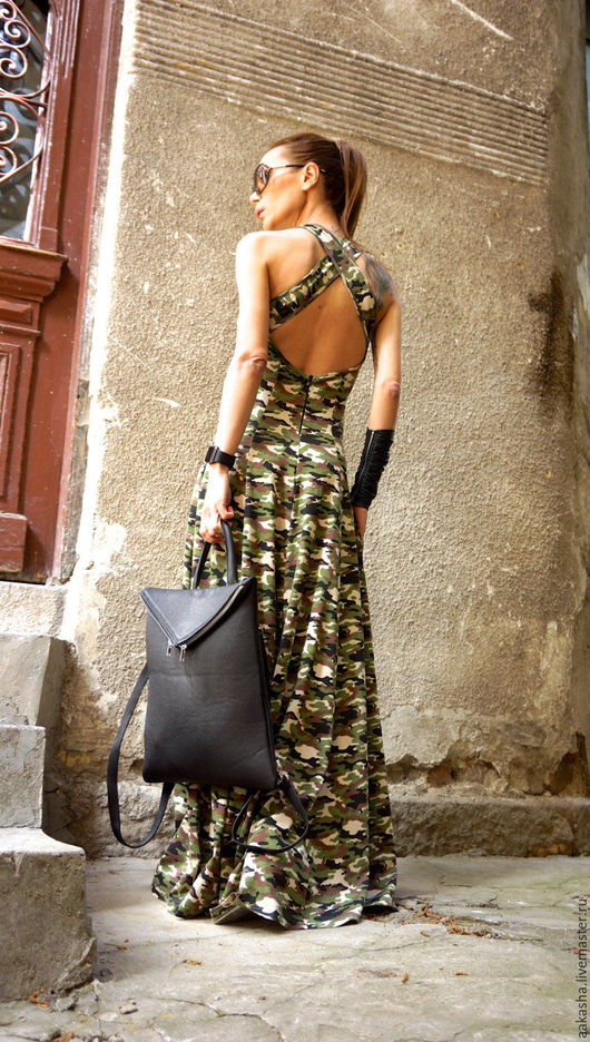 длинный сарафан расцветка камуфляж,платье в пол