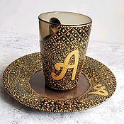 Чайные пары ручной работы. Ярмарка Мастеров - ручная работа Именная чайная пара. Handmade.
