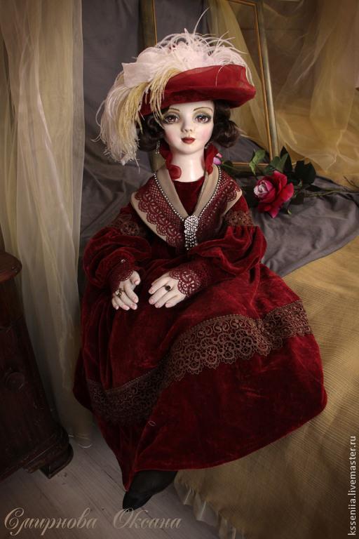 Коллекционные куклы ручной работы. Ярмарка Мастеров - ручная работа. Купить Аглая. Handmade. Бордовый, коллекционная кукла