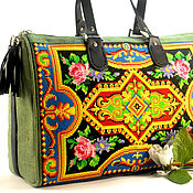 Сумки и аксессуары handmade. Livemaster - original item Large canvas bag Green bag Embroidered bag with ornament. Handmade.
