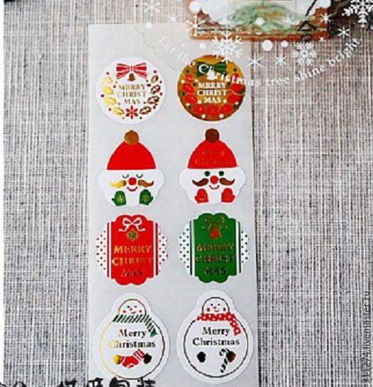 Упаковка ручной работы. Ярмарка Мастеров - ручная работа. Купить Новогодние наклейки.  24 шт. на листе.. Handmade. Комбинированный, наклейки