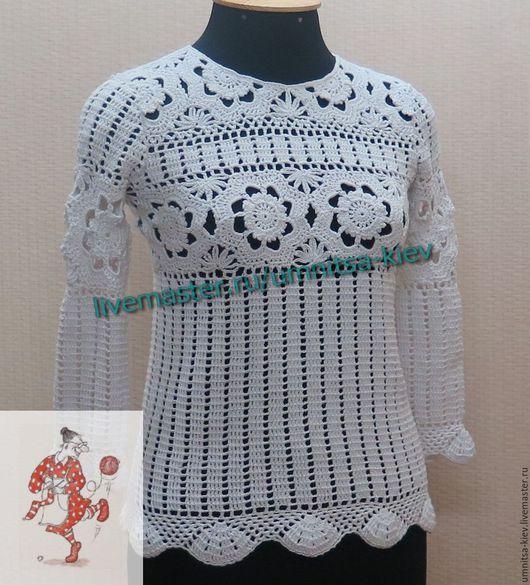 Фото. Женская вязаная кофточка «Белый цветок» Эта вязаная модель отлично подойдет не только для лета. Но Вы можете носить ее круглый год.