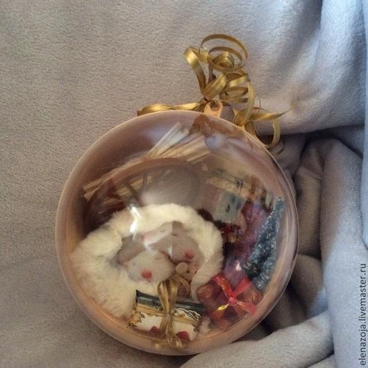 Новый год 2017 ручной работы. Ярмарка Мастеров - ручная работа. Купить Не будите спящего Мыша, елочный шар, выполненный в технике 3D декупаж. Handmade.