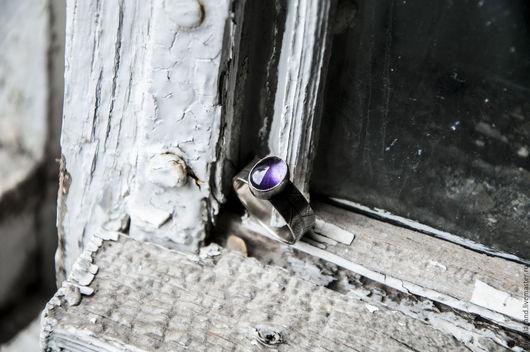 Кольца ручной работы. Ярмарка Мастеров - ручная работа. Купить Серебряное кольцо - фиолетовый лист. Handmade. Тёмно-фиолетовый, серебряный