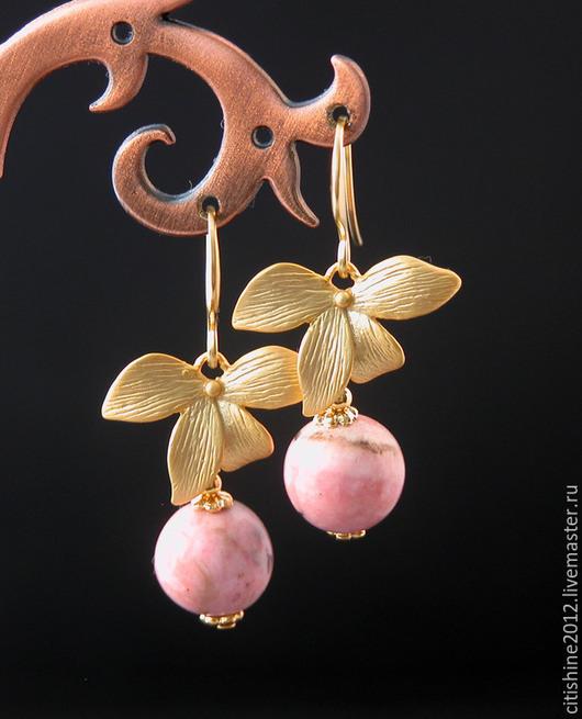 """Серьги ручной работы. Ярмарка Мастеров - ручная работа. Купить Серьги """" Орхидеи. Родохрозит"""". Handmade. Длинные серьги, золотой"""