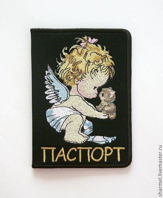 """Вышитая обложка на паспорт """"Ангел с котенком"""" . Полезные вещицы от Шармель-ки."""