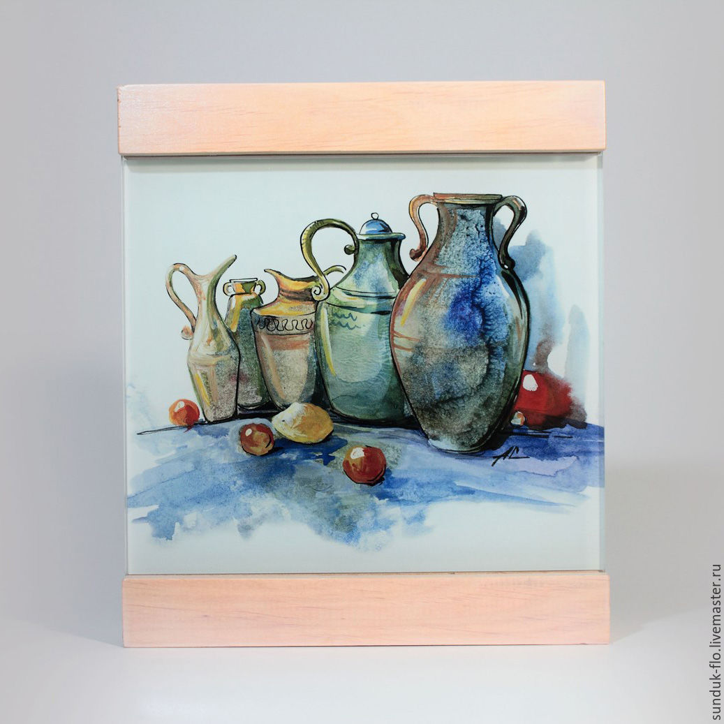 Glass painting `Jugs`