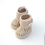Работы для детей, handmade. Livemaster - original item Booties, ugg boots for newborn cotton, beige. Handmade.