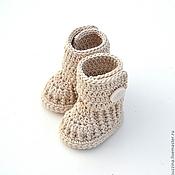 Работы для детей, ручной работы. Ярмарка Мастеров - ручная работа Пинетки угги для новорожденного из хлопка, бежевые. Handmade.