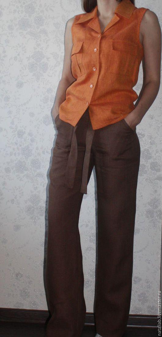 """Брюки, шорты ручной работы. Ярмарка Мастеров - ручная работа. Купить Льняные брюки """"Koffee"""". Handmade. Коричневый, брюки летние"""