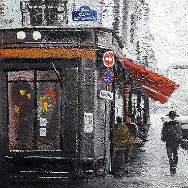 """Картины и панно ручной работы. Ярмарка Мастеров - ручная работа Картина """"Парижское кафе"""". Handmade."""