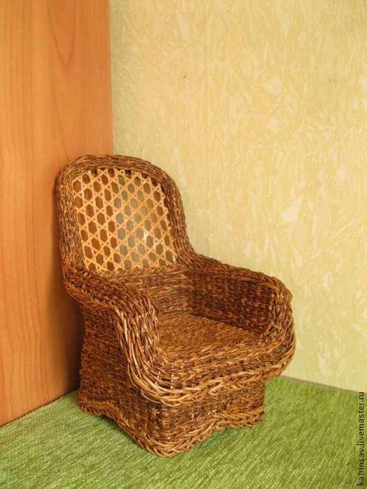 Кукольный дом ручной работы. Ярмарка Мастеров - ручная работа. Купить Кресло плетеное для кукол 1:5. Handmade. Коричневый, для кукол