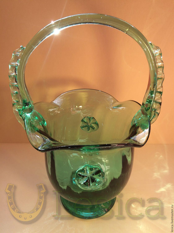 The candy bowl vase basket green colored glass, Vintage interior, Ramenskoye,  Фото №1