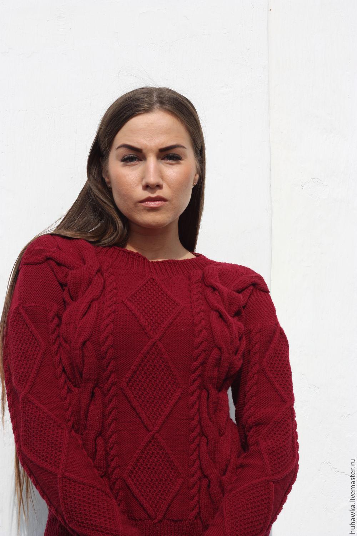 свитер вязаный женский с косами популярность купить в интернет
