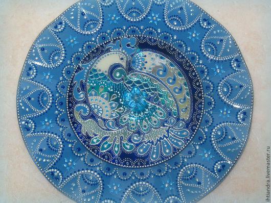 Тарелки ручной работы. Ярмарка Мастеров - ручная работа. Купить Синяя Птица Декоративная тарелочка с витражной росписью на диске. Handmade.