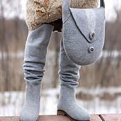 """Обувь ручной работы. Ярмарка Мастеров - ручная работа Ботфорты + сумочка """"Серая галька"""". Handmade."""