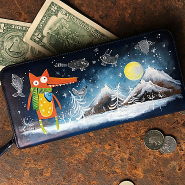 Bags and accessories handmade. Livemaster - original item Long Fox wallet. Leather animal cash envelope wallet dark blue.. Handmade.