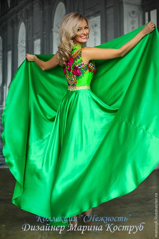 Платья ручной работы. Ярмарка Мастеров - ручная работа. Купить Платье Леди/павлопасад. Handmade. Ярко-зелёный, платье в пол