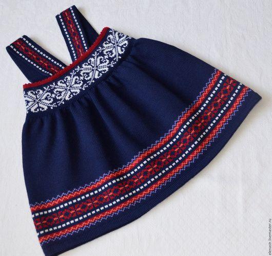 """Одежда для девочек, ручной работы. Ярмарка Мастеров - ручная работа. Купить Сарафан """"Норвежская принцесса"""". Handmade. Тёмно-синий"""